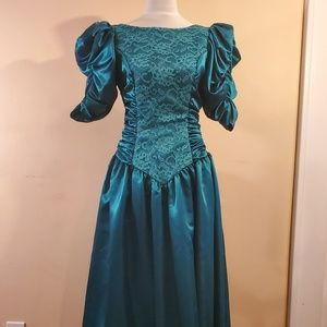 Dresses & Skirts - VTG 80s Satin & Lace Prom Dress Puffy Sleeves Bow